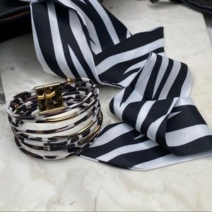 2pc Animal Print Bracelet + Twilly Scarf Set